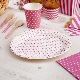 8 assiettes en carton pois rose bonbon
