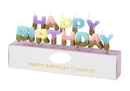 Bougies Happy Birthday Pastels Paillettes Or