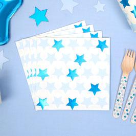 16 Grandes Serviettes Etoiles Bleues
