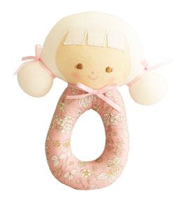 Hochet rond poupée Audrey rose avec fleurs Alimrose