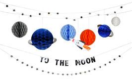 """Grande guirlande """"To the moon """" avec planètes alvéolées anniversaire Espace meri meri"""