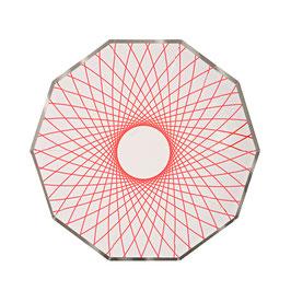 8 petites assiettes avec dessin géométrique fluo Meri Meri