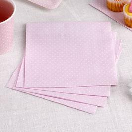16 Serviettes rose pastel plumetis blancs