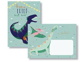 """Einladungskarte """"Dinos"""" mit Umschlag"""