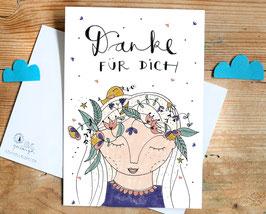 "Postkarte ""Danke für Dich"""