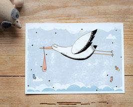 """Postkarte """"kleiner Storch"""""""