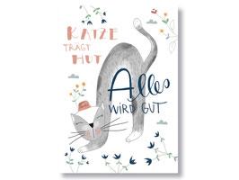 """Postkarte """"Katze mit Hut, alles wird gut"""""""