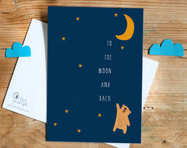 "Postkarte ""to the moon and back"""
