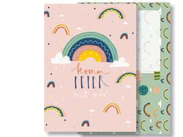"""Einladungskarte """"Regenbogen"""" mit Umschlag"""