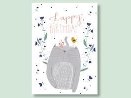 """Postkarte """"happy birthday mit Katze"""""""