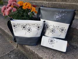 3. Trödel Tasche Kunstleder grau/weiß