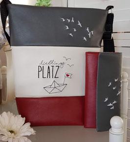 2. Trödel Tasche Kunstleder rot