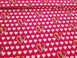 Baumwolle Rotkäppchen mit Herzen pink