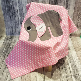 Babydecke Elefant Rosa/Punkte