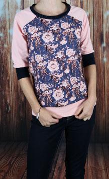 Shirt mit 3/4 Arm Blümchen/rosa