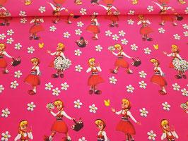 Baumwolle Rotkäppchen mit Blumen pink
