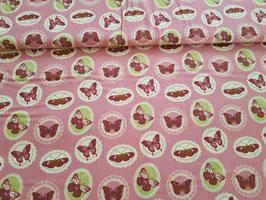 Baumwolle Schmetterling Sticker altrosa