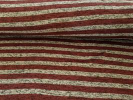 Strickfleece streifen antik weinrot