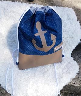 2. Trödel Tasche ''Beutel'' dunkel blau/weiße punkte