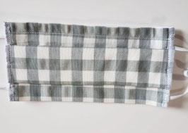 Masque en coton 3 couches avec ouverture pour insertion d'une feuille isolante (carreaux gris clair et blanc)