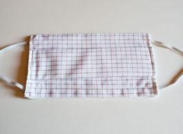 Masque en coton 3 couches avec ouverture pour insertion d'une feuille isolante  (carreaux fins fond blanc/noir/rose)