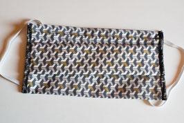 Masque en coton 3 couches (géométrique blanc/cuivre/gris)