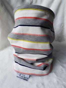 NOUVEAUTE 2021/2022 : Cache-cou rayures gris et pastel, forme tube.