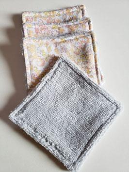 """Lingettes à démaquiller ou pour Bébé coton bio fibre de bambou par 4 """"motif fleurs"""""""