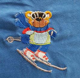 broderie ourson skieur taille 1 pour tshirt enfant, serviette toilette...