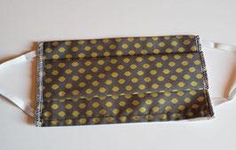 Masque en coton 3 couches avec ouverture pour insertion d'une feuille isolante  (hexagone gris or)