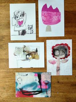 """Postkartenset """"Engel, Katze, Klecks"""""""