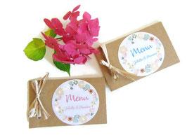 Menu en carton kraft en forme de carnet rose ou bleu
