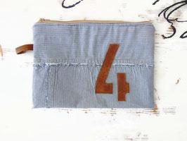 Pochette plate en coton rayé et cuir, ref P03