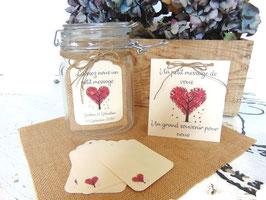 Livre d'or bocal en verre , collection arbre coeur rouge, vendu en kit