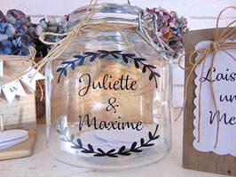 Livre d'or bocal en verre à personnaliser pour mariage champêtre