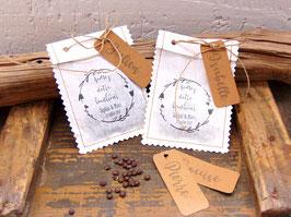 Sachet en graines mariage en kraft blanc et marron, à personnaliser