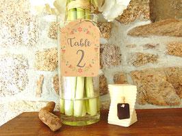 Etiquette numéro de table en kraft couronne de fleurs
