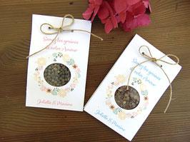 Sachet à graines en carton blanc rose ou bleu