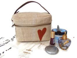 Vanity en chanvre ancien et cuir de vachette