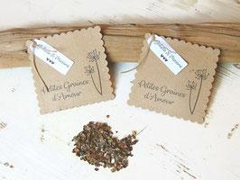 Sachet à graines en kraft à personnaliser avec son étiquette blanche, REF 3