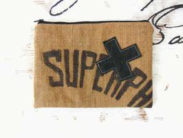 Pochette plate en toile de jute ancienne et coton noir, ref P02
