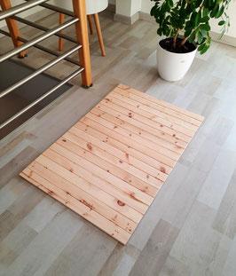 Teppich aus heimischen Zirbenholz. Format: B/L 60x90cm