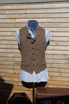 Harris Tweed Weste -braun meliert-