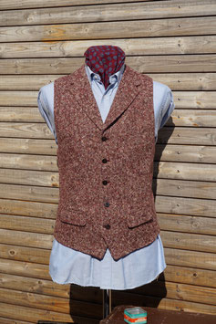 Harris Tweed Weste -rot meliert-