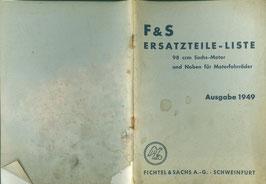 Ersatzteilliste 98ccm Sachs-Motor Ausgabe 1949