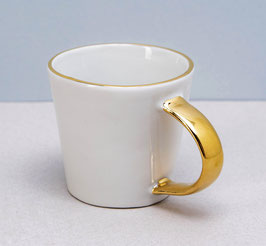 Espressotasse-Weiss mit Goldhenkel