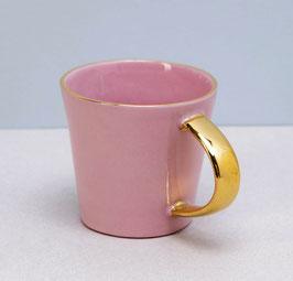 Espressotasse-Rosa mit Goldhenkel
