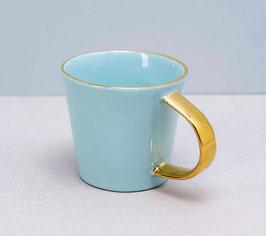 Espressotasse-Mint mit Goldhenkel