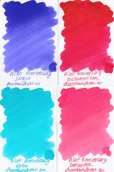 Pilot 100th Anniversary Ink Samples