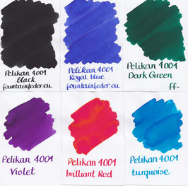 Pelikan 4001 Brilliant Ink Samples